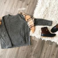 Sweater + Plaid Blanket Scarf